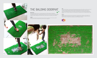 Act now. Plant a tree. M&M Balding Doormat Ad by Makani Creatives