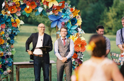 Colorful Paper Flower Wedding | photo by Rylee Hitchner