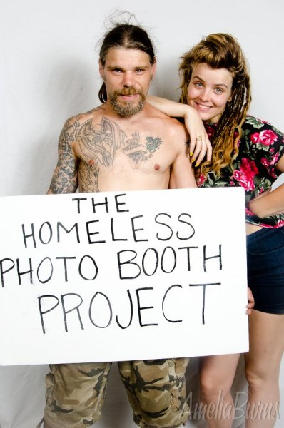 Check out my cousin Amelia's very cool photo project, the Homeless Photo Booth on Facebook and Tumblr.     The Homeless Photo Booth Project is a traveling photo booth run by artist Amelia Burns which travels the United States photographing homeless people in a studio setting.http://thehomelessphotoooth.tumblr.com/ https://www.facebook.com/TheHomelessPhotoBooth