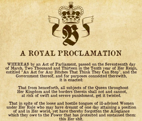 A Royal Proclamation From Queen Beyonce [click for the rest] You may proceed with the article