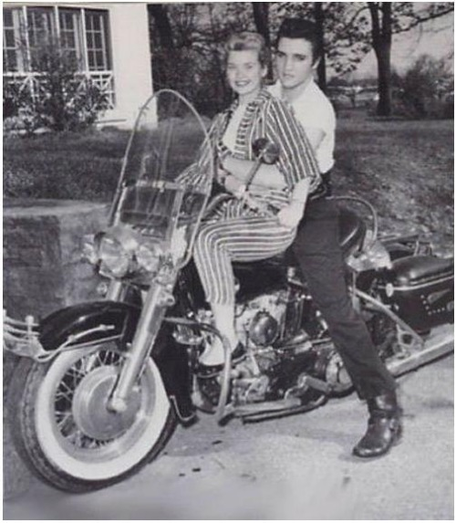 Elvis Presley with Yvonne Lime on his 1957 Harley-Davidson.