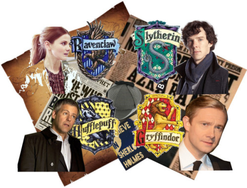 BBC Sherlock Charcters in their Hogwarts Houses by titanic1912 on Polyvore