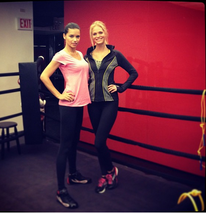 erinheathertonangelwings:  Knockout Central. Adriana Lima & @erinheatherton getting ready for a training session