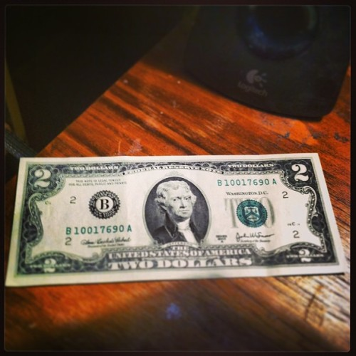 Found this while cleaning out my desk! #twodollarbill #money #old #cool #jefferson #president #usa