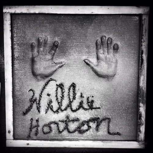 "Fresh handprints by Willie Horton ""Willie The Wonder"" at the Detroit Historical Society. #detroit #detroitlove #detroittigers #1968 #worldseries #williehorton #baseball"