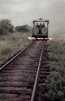 natgeofound:   Men ride a weed-burning rail car in Texas, June 1941.Photograph by Luis Marden, National Geographic