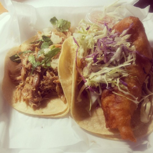 #Beer battered fish and slow cooked #pork #tacos #yum  (at Surf N Turf Tacos Waikiki)