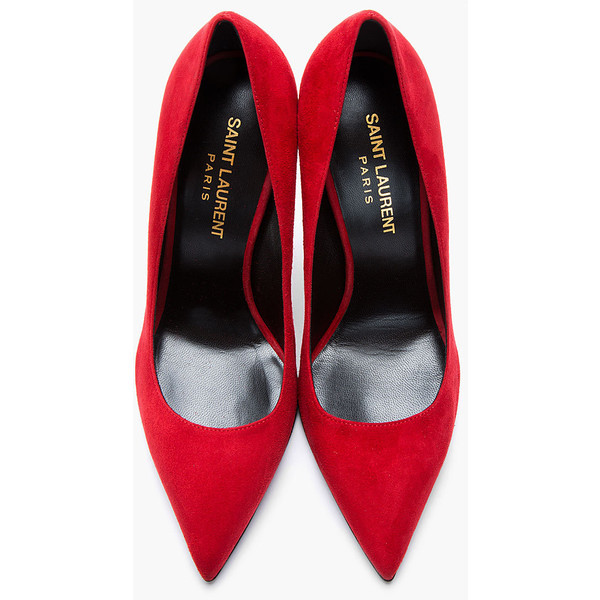 wwwladiesfashionsensecom:  SAINT LAURENT Red Suede Paris Pump   ❤ liked on Polyvore (see more stiletto high heels)