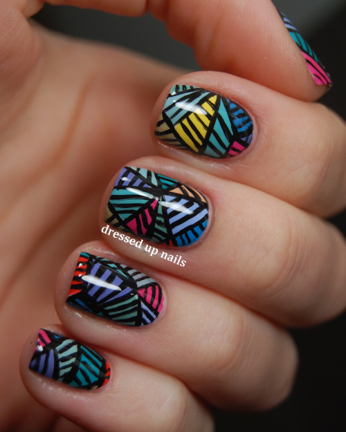dressedupnails:  Happy Friday everybunny! I have my last set of art-inspired nails to show y'all today, this time based off of this painting by LA-based artist and muralist Push. All done freehand! I am pretty proud of these and glad I get to wear them for more than a day haha. Check out the full post for more info on how I did them as well as a pic of my right hand (it matches!!) Have a great weekend y'all! Facebook | Instagram @dressedupnails