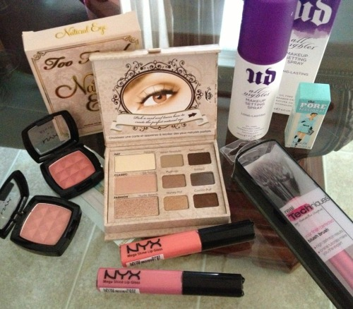 makeuploversunite:  makeuploversunite:  Giveaway! Just an I love my followers giveaway! This is a mixture of my favorite products and summer products :) Products included Urban Decay All Nighter Setting Spray - Great for keeping your makeup on all day, prevents your makeup from looking cakey/powdery, can be sprayed before and after makeup. Too Faced Natural Eye Palette - Great every day palette with a mixture of matte and shimmery shades. 2 NYX lipglosses in Beautiful (medium pink) and Nude Peach (peachy coral) 2 NYX blushes in Mauve (dusty rose) and Summer Peach (peachy pink) Real Technique's Blush Brush - Great for powder, blush & bronzer. Deluxe Mini Benefit Porefessional Primer Rules Giveaway ends Friday May 3rd, 2013 Must be following Makeup Lovers Unite Likes do not count as entries Reblogs count as one entry, can reblog up to 10 times total International, all countries can enter! Good luck :)  A few more hours to enter! :)