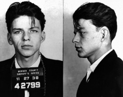 20th-century-man:  Frank Sinatra  arrested by the Bergen County, New Jersey sheriff in 1938 and charged with carrying on with a married woman (later upped to 'adultery' and then dismissed)