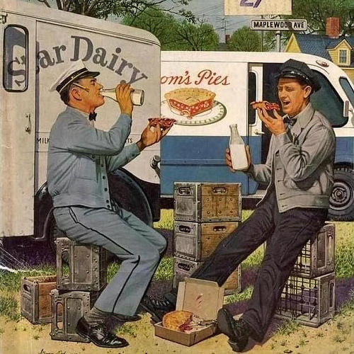 fuckyeahvintage-retro:  Milkman Meets Pieman, 1958 - Illustrated by Stevan Dohanos.