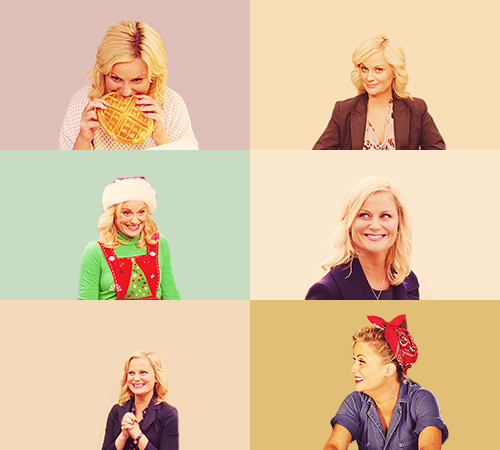 "A list of ladies I love → Leslie Knope  ""We need to remember what's important in life: friends, waffles, work. Or waffles, friends, work. Doesn't matter, but work is third."""