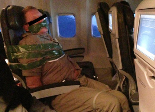 laughingsquid:  Drunk Icelandair Passenger Strapped to Seat With Tape & Zip Ties  I recently traveled to Iceland, and I gotta say … I'm so glad this didn't happen on my flight.