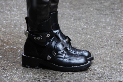 wgsn:  Pristine biker boots on the streets of New York at #NYFW WGSN Street Shot, New York Fashion Week