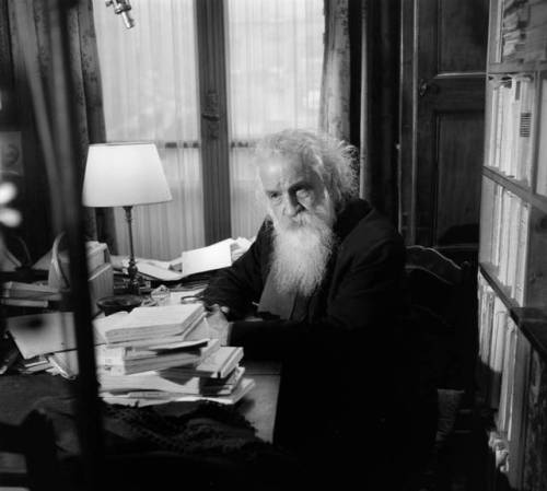 "Gaston Bachelard at his home in Paris, interviewed for the program ""In one year, one day"". December 08, 1961. By Bernard Pascucci."