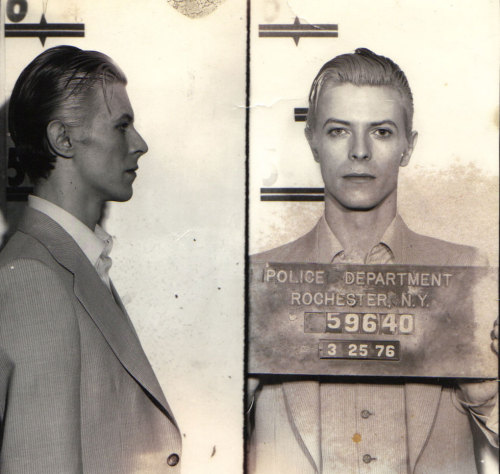 burnedshoes:  Unknown photographer, 1976, David Bowie mugshot David Bowie was arrested for marijuana possession along with Iggy Pop in Rochester, New York.