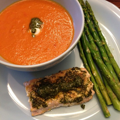 Salmon with chimichurri, asparagus, and tomato and roasted pepper soup. #food #foodporn