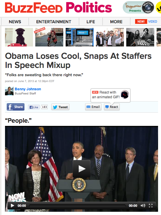 """""""Uh, @BuzzFeed? If this is Obama """"losing his cool,"""" it's the coolest cool-losing I've ever seen."""" -@delrayser Watch:BuzzFeed"""