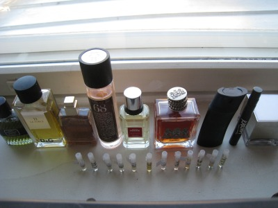 My perfume collection featuring (in order) Dior, D&G, Gaultier, Guerlain, Juicy Couture, Kenzo, Lush & Shiseido, as of May 2013.