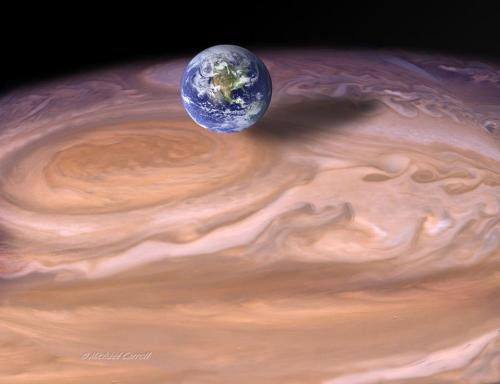 Jupiter's Great Red Spot is the largest known vortex in the Solar System. It's big enough to engulf several Earths as shown in this artist's rendition. — Michael Carroll