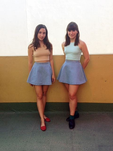 americanapparel:  Val and Christina, employees at one of our stores in Arizona, wear matching outfits while working at their store.