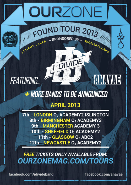 The Ourzone 'Found' Tour sponsored by us starts tonight..