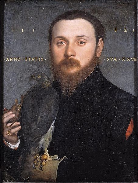 loverofbeauty:  Hans Holbein the Younger:  Hipster with a Falcon  (1542)