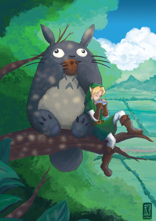 onelittleapple:  One of my favourite fanarts I've done. Totoro and Link, chillin' out  and playing some sweet tunes.