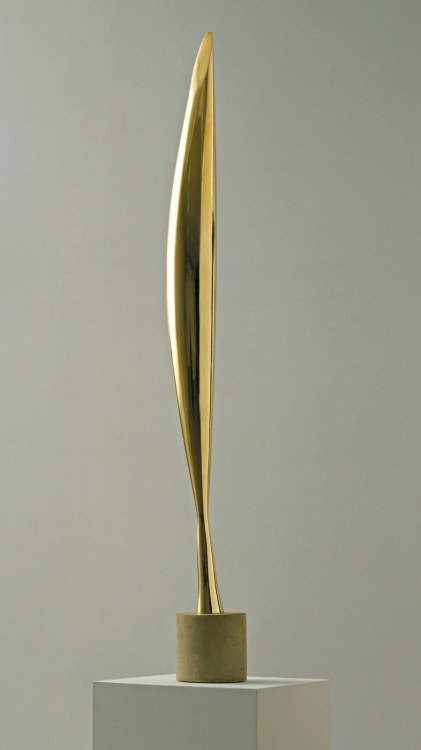 "ryandonato:  Constantine Brâncuși, Bird in Space, 1924. Bronze, 4' 2 5/16"" high  Although not a literal depiction of a bird, Brâncuși's softly curving light-reflecting abstract sculpture in polished bronze suggests a bird about to soar in free flight through the heavens.    Possibly my favorite sculpture of all time."