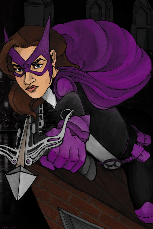 Huntress comic book cover, kinda not satisfied with it, but I'm gonna just leave it for a while