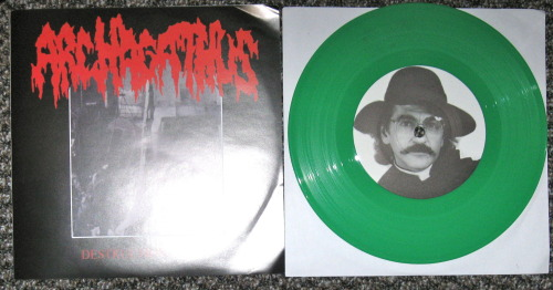 Archagathus/Iron Butter - split (Bringer Of Gore Records 2012) You couldn't ask for a better split; in my mind at least.  Some others might think you were crazy to say so.  Mostly because of the violent noise offered on these two sides of this record.   Archagathus offer there signature style of ripping off  paying tribute to Agathocles.  This shit rips.  I wasn't sure what speed to be playing it on, because it sounds awesome at both 33 and 45.  So fucking brutal and fast. n This is how all grindcore should sound; fuck technical bullshit.  Crossed out music notes forever! Iron Butter also bring the noise, with I would say is there best material.  16 short noisecore blasts centering around an insane Kiss cover.  This is noisecore done right; with a sense of humor.  If these guys were serious, this would suck.  I mean it does suck, but in the best way possible.  I don't know.  Get this in your life. -Log.