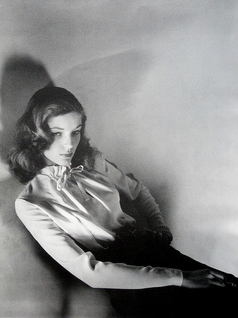 17-year old Lauren Bacall in a 1942 fashion photo by Jerry Plucer Sarna for Harper's Bazaar