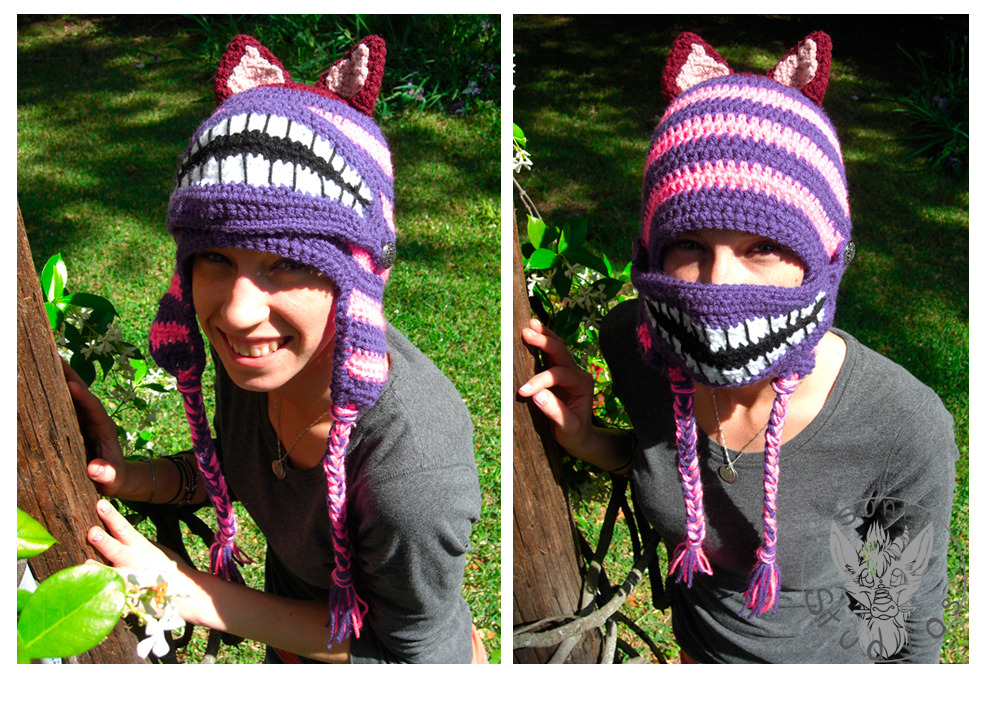 cruisecontrolforcool:  thecrochetdragon:  Cheshire cat inspired crochet hat! Button on mask features the signature cheshire grin while providing added warmth on those windy days. SOLD! But I am taking orders for these hats: $30.00 + shipping  oh my god this is adorable