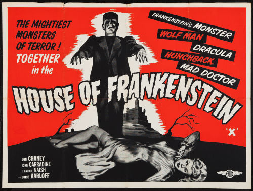 greggorysshocktheater:  British quad for House Of Frankenstein (1944)