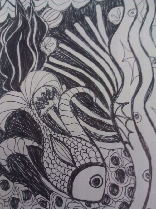 #zentangle #underwater #fish #doodle