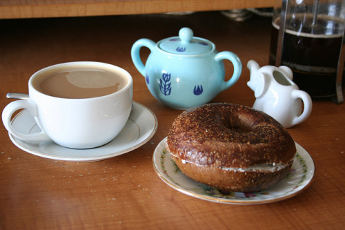 breakyfast:  bagel and coffee by louveciennes on Flickr.
