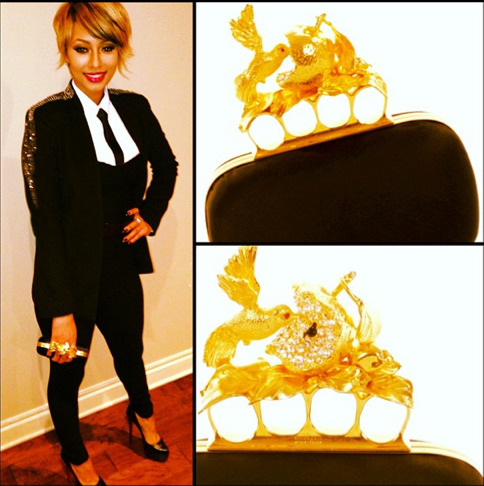 Keri Hilson rang in the New Years earlier this month while rocking a Suzette Crawford jumpsuit, a Gucci tie, Alexander McQueen clutch and Christian Louboutin pumps.