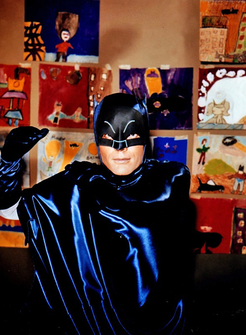 bigredrobot:  twentypercentcooler:  vintagegal:  Adam West as Batman, 1960s  Is Adam West Batman standing in front of a wall of children's drawings of Adam West Batman?  Yo dawg, etc.