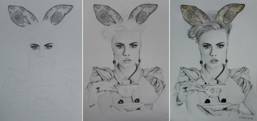 Making of Cara Delevingne drawing.