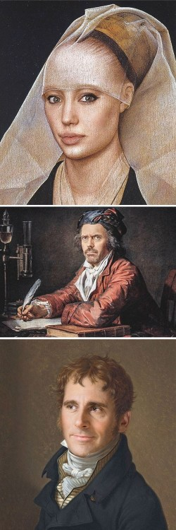 "thedailywhat:  Celebrity Photoshop of the Day: Classic Paintings Recreated with Modern Celebrities Look at these winning submissions fromWorth 1000's ""Modern Renaissance"" contest! Contestant BrunoSousa took both first and second place for recreating Rogier van der Weyden's ""Portrait of a Lady"" with the face of actress Angelina Jolie (shown above, top) and Jacques-Louis David's ""Portrait of Doctor Alphonse Leroy"" with actor Hugh Laurie's face (shown above, middle). Contestant Fichtenbrenner came in at third with François-Xavier Fabre's ""Portrait of Edward Fox Fitzgerald"" featuring the face of Steve Carrell from The Office (shown above, bottom)."