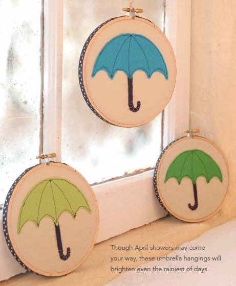 April showers bring May flowers…and dear little embroidered umbrellas! Swing by for free project instructions to whip up some springy wall art. http://www.larkcrafts.com/needlearts/free-project-friday-sweet-hooped-umbrellas/