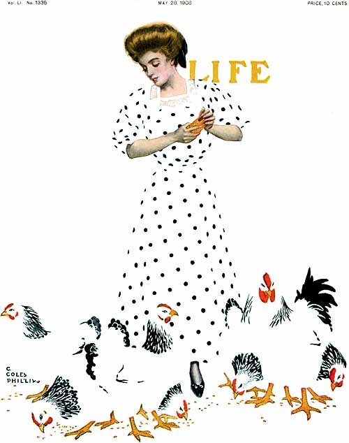 1908 Coles Phillips (American artist, illustrator; 1880-1927) ~ Life Magazine fade-away girl … and chickens cover