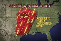 Tornado Risk Dallas to Kansas City  As a storm moves out of the Rockies, the risk of violent thunderstorms, some capable of producing a tornado, will progress slowly eastward across the Plains Tuesday and Wednesday.
