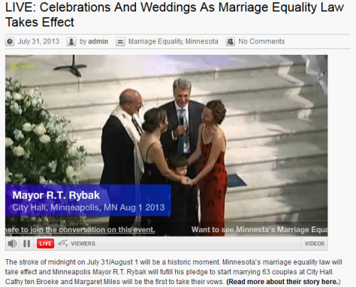 MN Marriage Equality FTW! Just watched online as Mayor Rybak declared Cathy ten Broeke and Margaret Miles legally married in the state of Minnesota. I'm a little verklempt! Read more about their story at The Uptake.