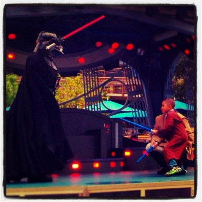 My young Padawan!!! Takin' on Vader!!! #HappyBirthday #Disneyland