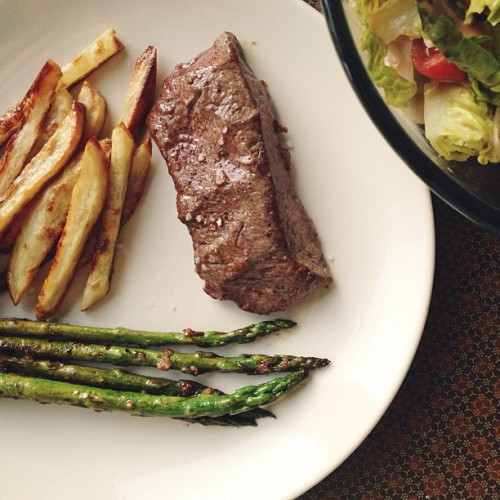 Favourite dinner…ever!!! Steak, homemade chips, asparagus + salad. ❤ - #dinner #steak #fries #salad #spring #cooking #recipes #london #food #blog #foodblog #foodforfoodies #yum #recipes #yolkporn #sharefood #foodpics #foodporn #afterglow #afterlight #favourite