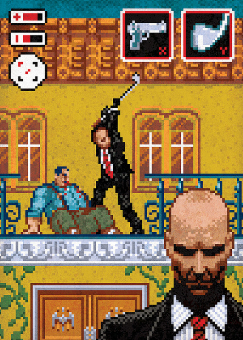 "gamefreaksnz:  Hitman Trilogy « Jude Buffum  I recently had the pleasure of working on a piece of tribute art for the upcoming Square Enix Hitman Trilogy. If you're unfamiliar with the Hitman video games, you play as Agent 47, an infallible assassin-for-hire who must eliminate his targets using clever methods to avoid detection. The Hitman Trilogy boxed set will come with the first 3 games, remastered in HD, and an exclusive ""art book"" featuring 22 pieces of never before seen reinterpretations of classic moments from the those games. I was asked to illustrate the Anathema mission, in which you must assassinate Don Guillani, a Sicilian Mafia boss. As he is an avid golfer, one of the ways you can dispose of him without raising the alarms that a gunshot would, is to use his own golf club to do the deed."
