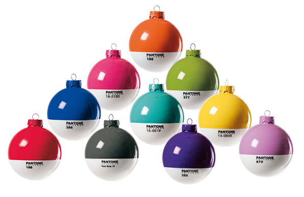 Design Mondays: Pantone Ornaments  These Pantone bulbs from Studio Badini Createam are amazing! They're the perfect mix of our retro holiday ornaments + our Pantone toothbrushes.