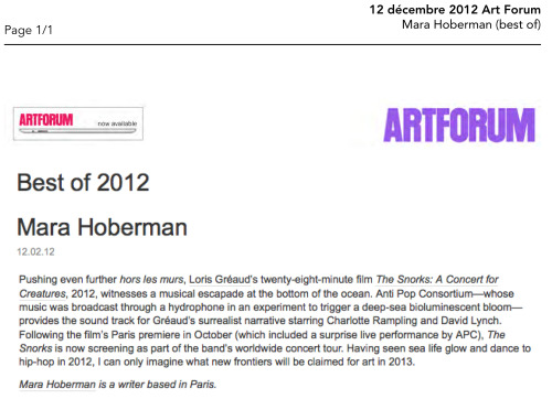 ART FORUM_BY MARA HOBERMAN_DECEMBER 12, 2012